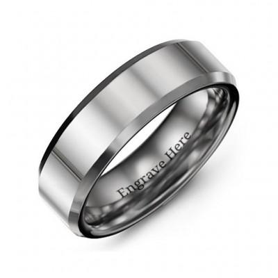 Herren abgeschrägte Kante poliert Wolfram Ring