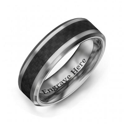 Männer schwarze Carbon Faser Inlay poliert Wolfram Ring
