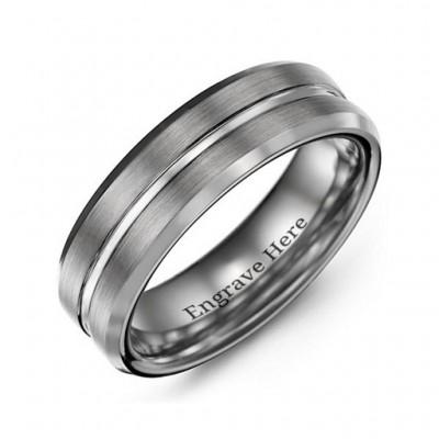 Herren Brushed Grooved Center Beveled Tungsten Ring