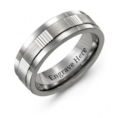 Männer Brushed gewellter Tungsten Band Ring