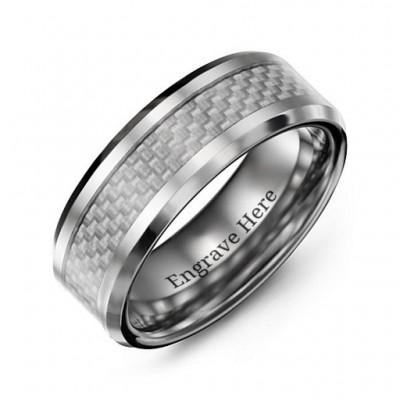 Männer Klar Carbon Fiber Inlay poliert Wolfram Ring