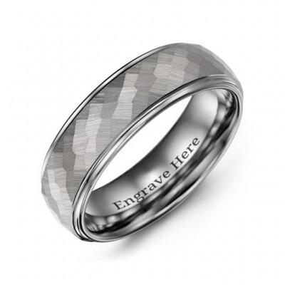 Herren Hammered Mitte poliert Wolfram Ring