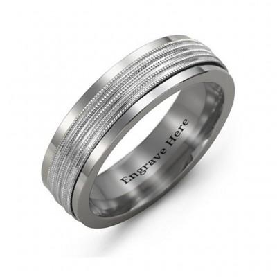 Herren gewelltes Center Tungsten Band Ring