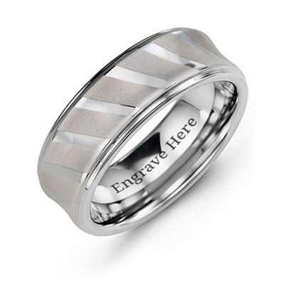 Herren Tungsten Ring mit Diagonal Brushed Stripes