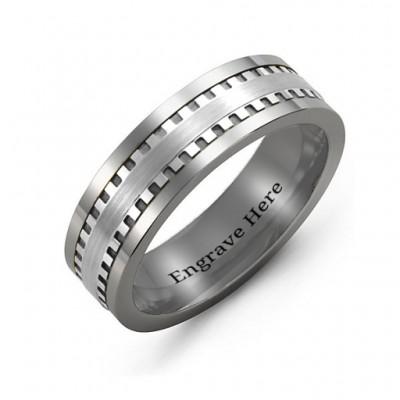 Männer Vertikal Grooved Center Tungsten Band Ring