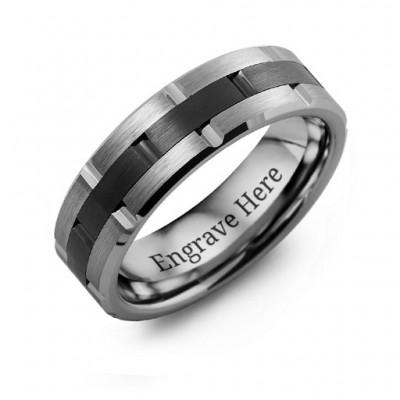 Herren Tungsten & Keramik Grooved Brushed Ring