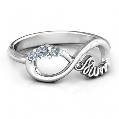 Mums Unendliche Liebe mit Steinen Ring