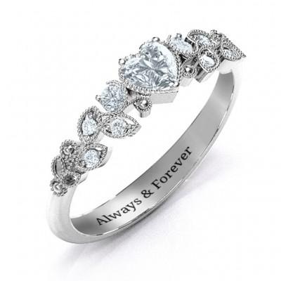 Natürliche Schönheit Blatt Ring mit Akzenten