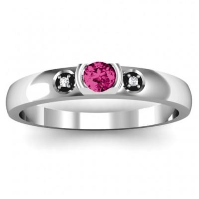 Öffnen Lünette Cut Ring mit Akzente Steine