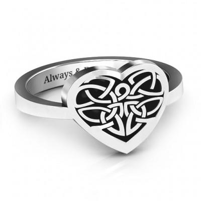 Oxidiertem Silber Celtic Herz Ring