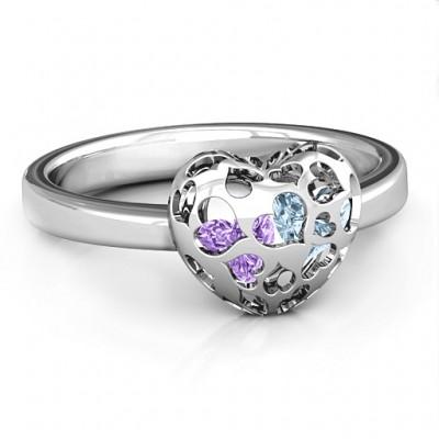 Petite Caged Herz Ring mit 1 3 Steinen