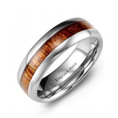 Poliert Wolfram Ring mit Koa Holz Insert