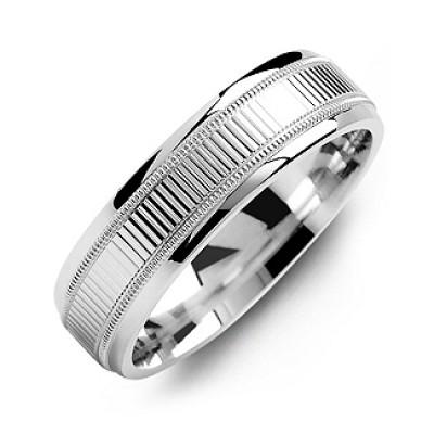 Geriffelter Ring der Männer mit Milgrain Kanten