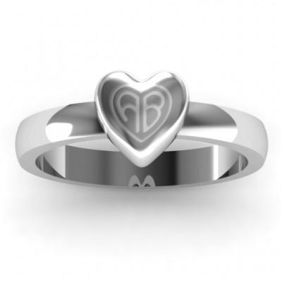 Kleine graviertes Monogramm Herz Ring