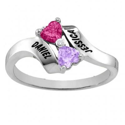 Sterling Silber Rhapsody Kissing Herz Ring