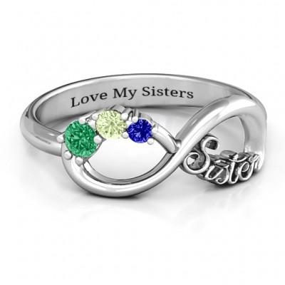 Sterling Silber 2 4 Stein Schwestern Unendlichkeit Ring