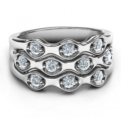Sterling Silber 3 Tier Wellen Ring