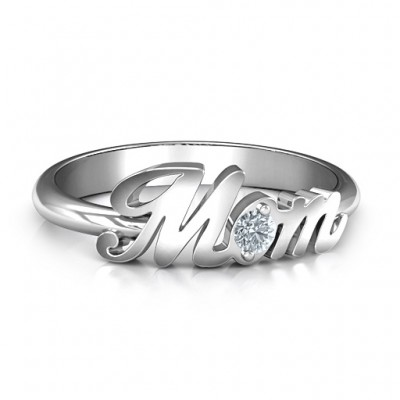 Sterling Silber All About Mom Ring Birthstone