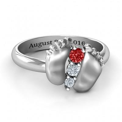 Sterling Silber Baby Fuss Ring Geburtsstein