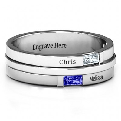 Sterling Silber Baguette Ring der Männer