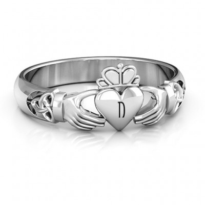 Sterling Silver Celtic geknotete Claddagh Ring