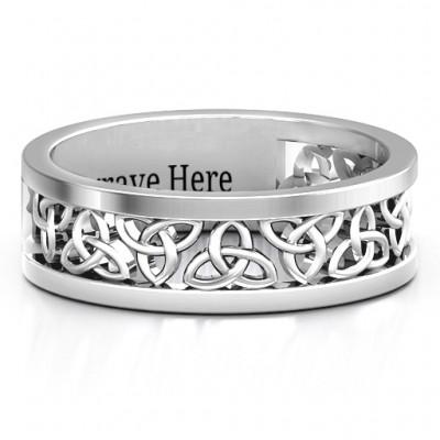 Sterling Silver Celtic Kranz Ring der Männer