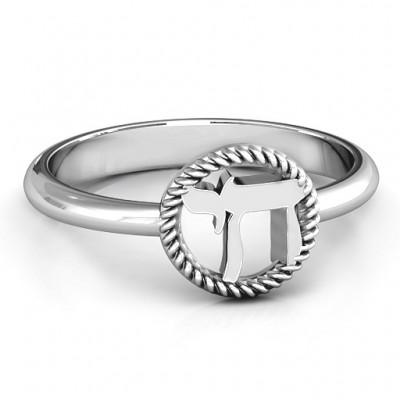 Sterling Silber Chai mit geflochtenen Halo Ring