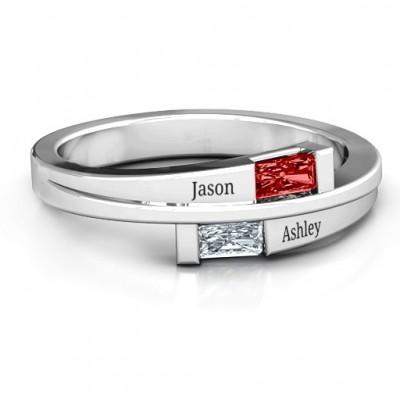 Sterling Silber Doppel Baguette Bypass Ring mit Granat (simuliert) Steine
