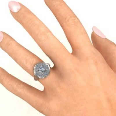 Sterling Silber Doppel Halo Fountain Ring