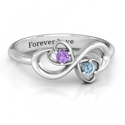 Sterling Silber Duo der Herzen und Steine Infinity Ring