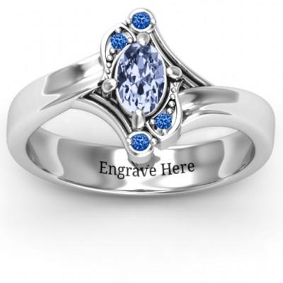 Sterling Silber Fancy Oval Asymmetrische Ring