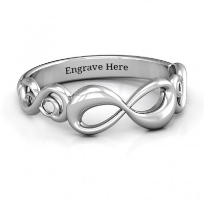 Sterling Silber Groovy Infinity Ring