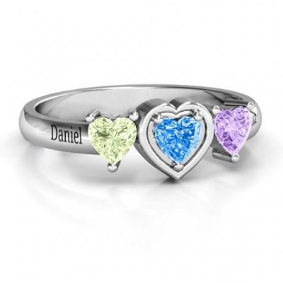 Sterling Silber Herz Stein mit Doppelherz Akzente Ring