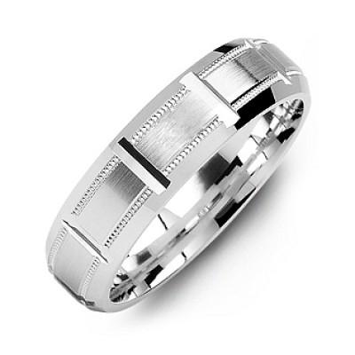 Sterling Silber Horizontal Cut Ring der Männer mit abgeschrägten Rand
