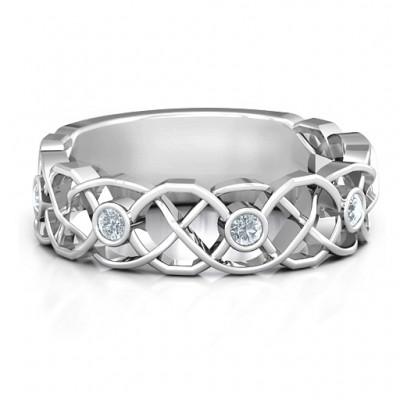 Sterling Silber verflochtene Liebe Band Ring