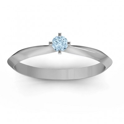 Sterling Silber Knife Edge Solitaire Ring