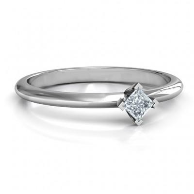 Sterling Silber L Form Prinzessin Ring