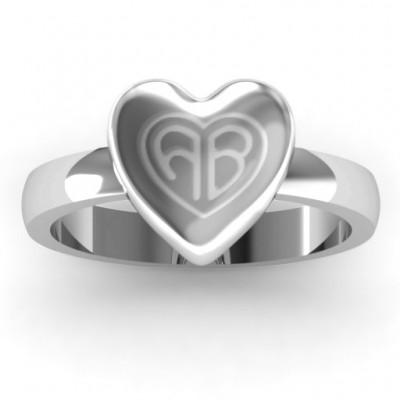 Sterling Silber Große graviertes Monogramm Herz Ring