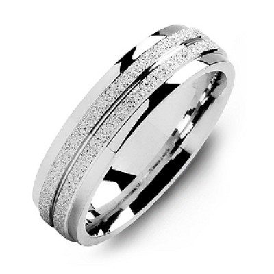Sterling Silber Laser Ziel Ring der Männer mit polierten Kanten
