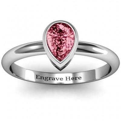 Sterling Silber Birne mit Raised Lünette Ring