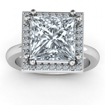 Sterling Silber Princess Cut Cocktail Ring mit Halo