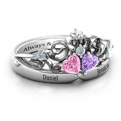 Sterling Silber Königs Verhältnis Doppel Herz Tiara Ring mit Stichen