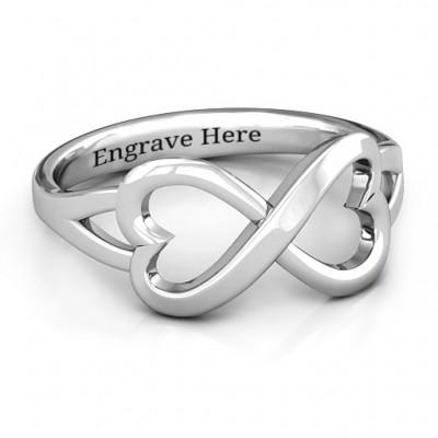 Sterling Silber Einfache Doppel Herz Infinity Ring