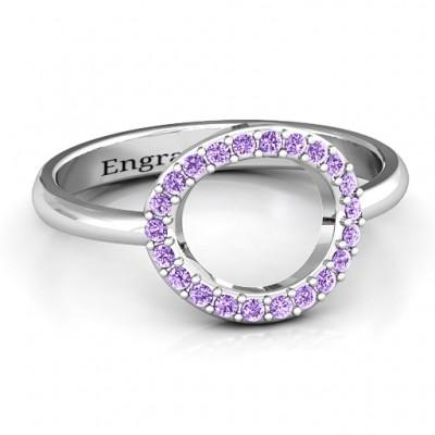 Sterling Silber Einzel Accented Kreis Karma Ring