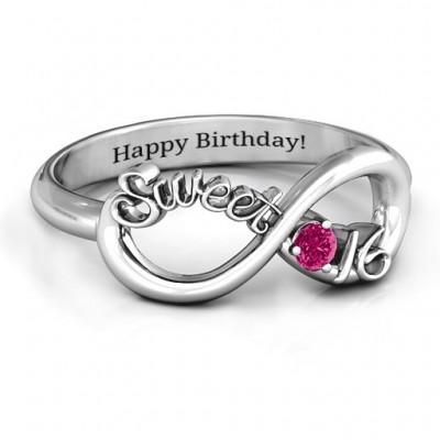 Sterling Silber des Bonbon 16 mit Geburtsstein Unendlichkeit Ring