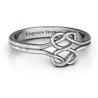 Sterling Silber Verwirrte Herz Infinity Ring