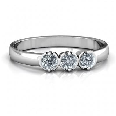 Sterling Silber Trinity Ring mit Cubic Zirkonia Steinen