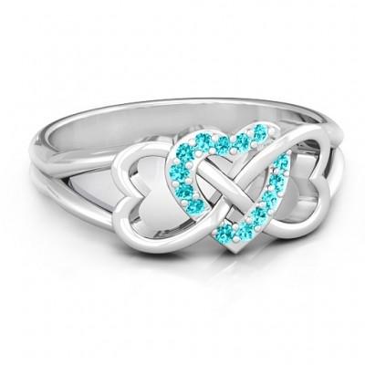 Sterling Silber Dreifacher Herz Infinity Ring mit Minze Swarovski Zirkonia Steinen