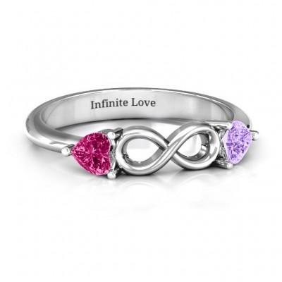 Sterling Silber Zwei Herzen to Infinity Ring