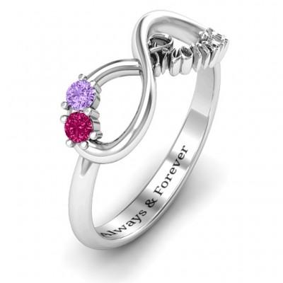 Sterling Silber Zwei Stein Versprechen Unendlichkeit Ring